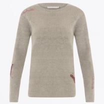 - Mohair Knit With Embroidery - Grey
