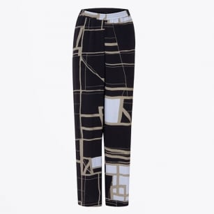 | Square Printed Trousers - Navy