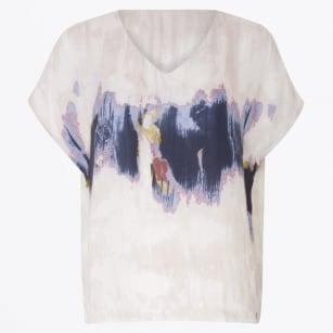 | V Neck Fade Print Tee - White