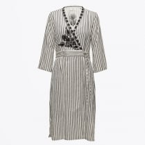 - Magic Embroidered Stripe Dress - White
