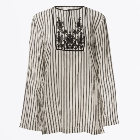 Day Birger et Mikkelsen - Magic Embroidered Striped Top - White