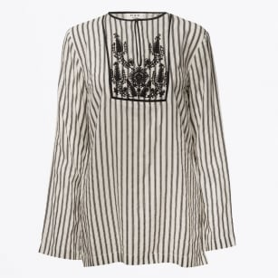 - Magic Embroidered Striped Top - White