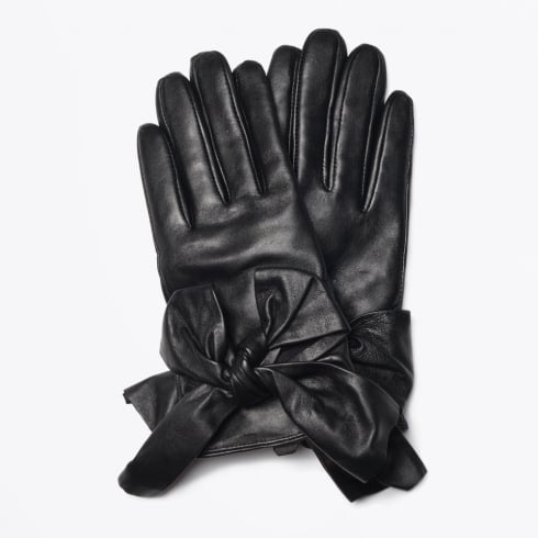 Day Et - Bow Leather Gloves - Black