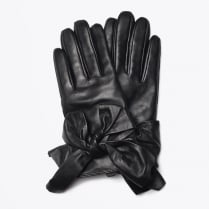 - Bow Leather Gloves - Black
