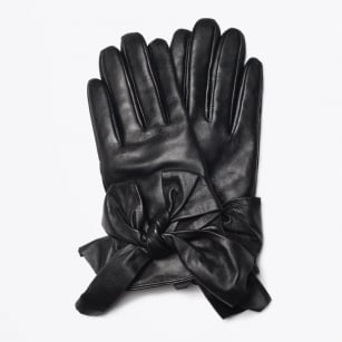 | Bow Leather Gloves - Black