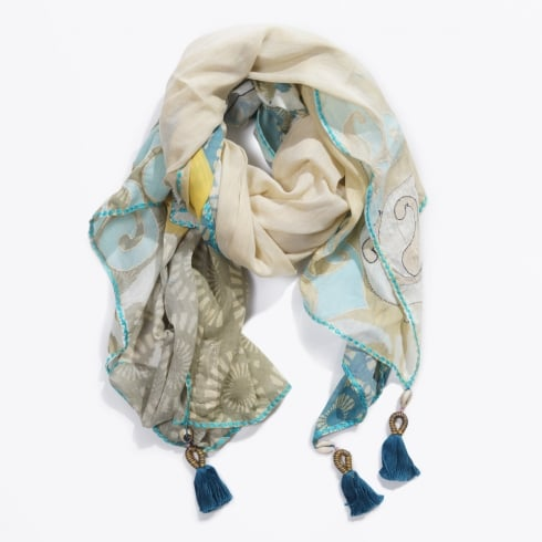 Duet Scarves - Tatoo Embroidery Scarf - Blue