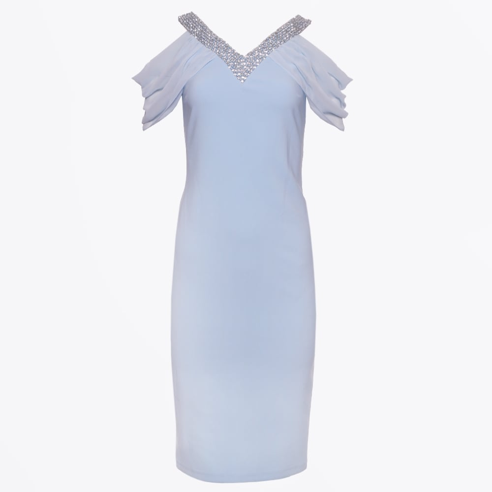 8dda51902cc Genese - Embellished Neck Dress - Sky Blue - Mr   Mrs Stitch