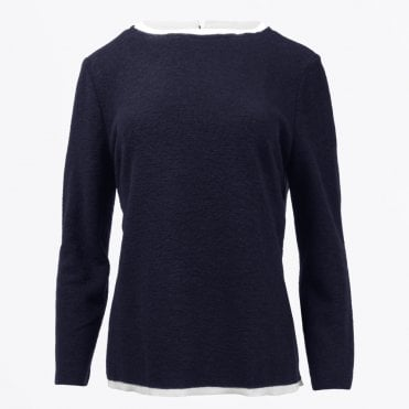 - Layered Wool Top - Navy