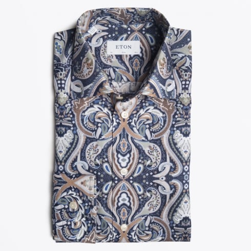 Eton - Big Paisley Print Shirt - Navy
