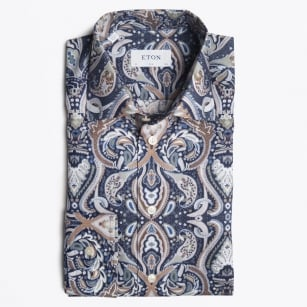 - Big Paisley Print Shirt - Navy