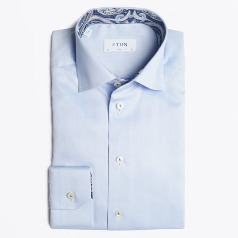 Eton - Blue Shirt With Navy Paisley Trim