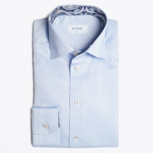 - Blue Shirt With Navy Paisley Trim