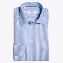 - Blue Striped Woven Effect Shirt