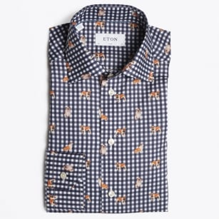 - Bulldog Print Shirt - Navy