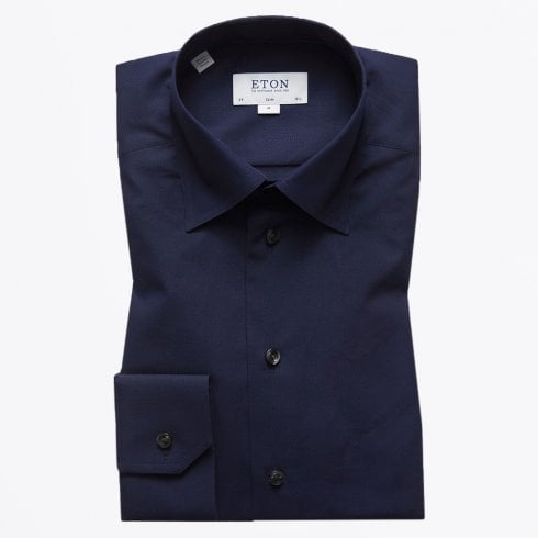 Eton - Button Under Poplin Shirt - Navy