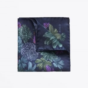 - Floral Pocket Square - Navy/Multi