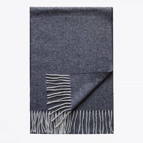 - Herringbone Wool Scarf - Blue