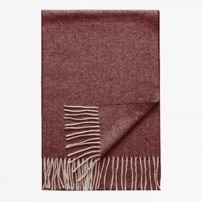 - Herringbone Wool Scarf - Pink/Red