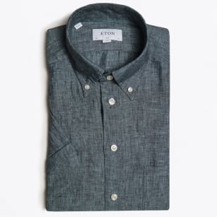 - Linen Short Sleeve Shirt - Green