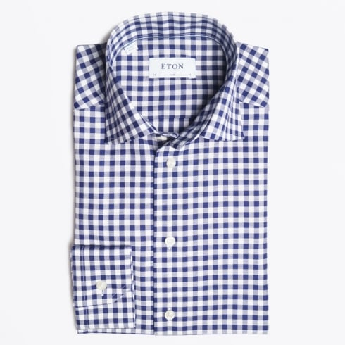 Eton - Navy Gingham Check Shirt