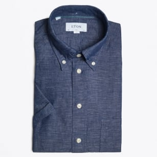 - Navy Short Sleeve Linen Shirt