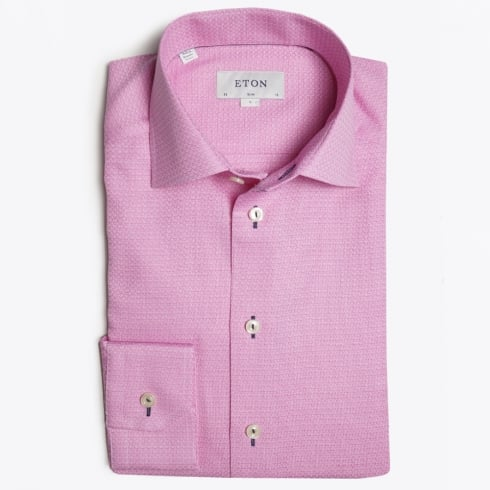 Eton - Piped Button Hole Trim Shirt - Pink