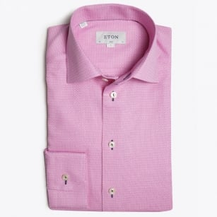 - Piped Button Hole Trim Shirt - Pink