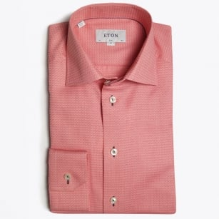- Piped Button Hole Trim Shirt - Pink/Red