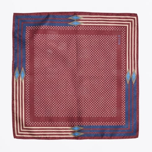 Eton - Polka Dot Pocket Square - Burgundy
