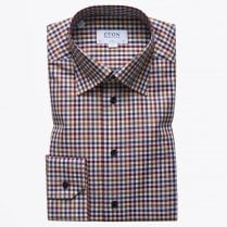 - Signature Twill Gingham Shirt - Burgundy