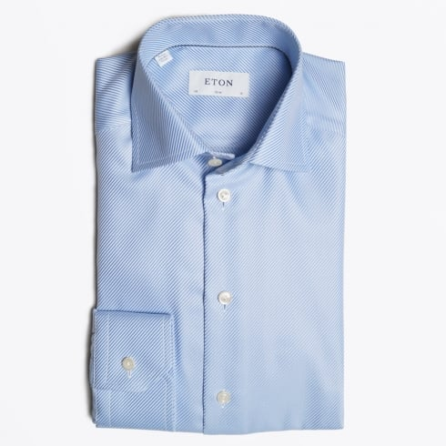 Eton - Textured Twill Shirt - Light Blue
