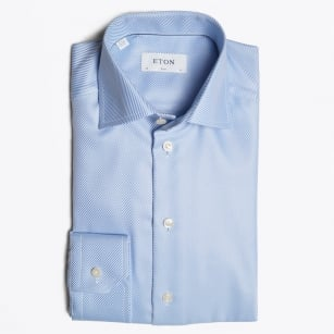 - Textured Twill Shirt - Light Blue