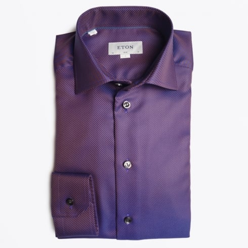 Eton - Textured Twill Shirt - Purple