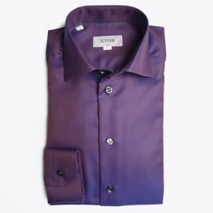 - Textured Twill Shirt - Purple
