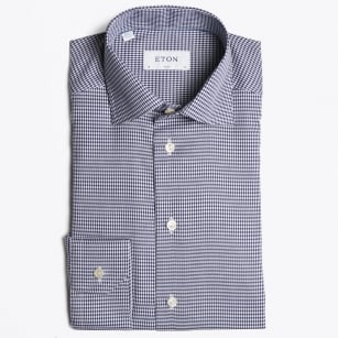 - Twill Dogtooth Shirt - Navy