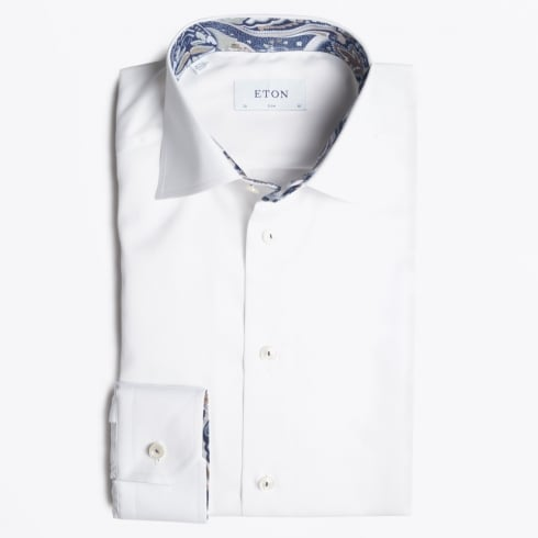Eton - White Shirt With Navy Paisley Contrast Trim