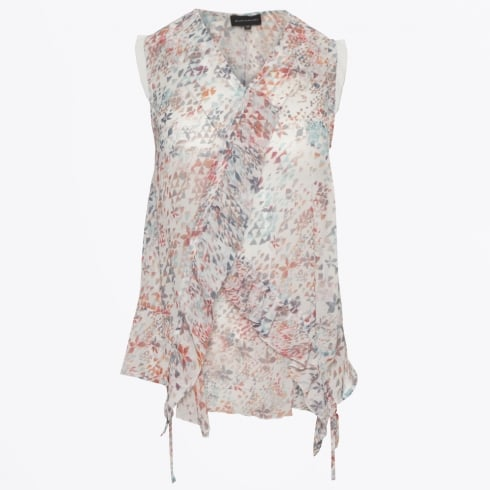 Eva Kayan - Chiffon Print Sleeveless Top - White