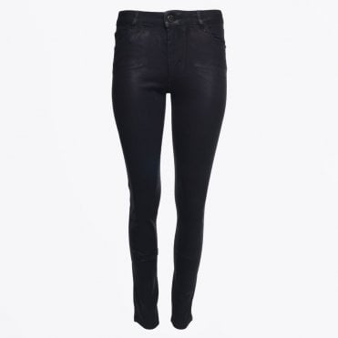 - Classic Mid Rise Waxed Jeans - Black