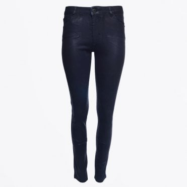 - Classic Mid Rise Waxed Jeans - Navy