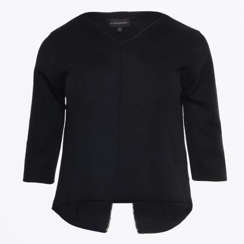 Eva Kayan - Crop Knit With Split Back - Black