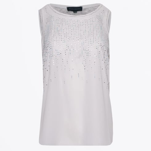 Eva Kayan - Diamante Jersey Vest - White/Grey