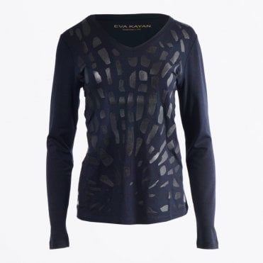 - Faux Leather Animal Print Navy T-Shirt