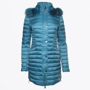 - Long Fur Trimmed Puffa - Petrole