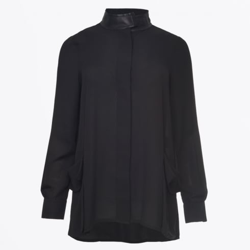 Eva Kayan - Long Shirt With Silk Pocket Detail - Noir