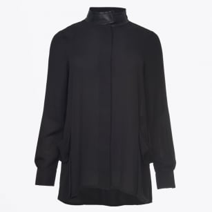 - Long Shirt With Silk Pocket Detail - Noir