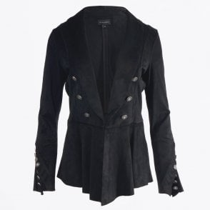 - Military Style Faux Suede Blazer - Black