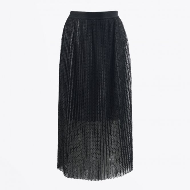 Eva Kayan - Pleated Heart Print Skirt - Black