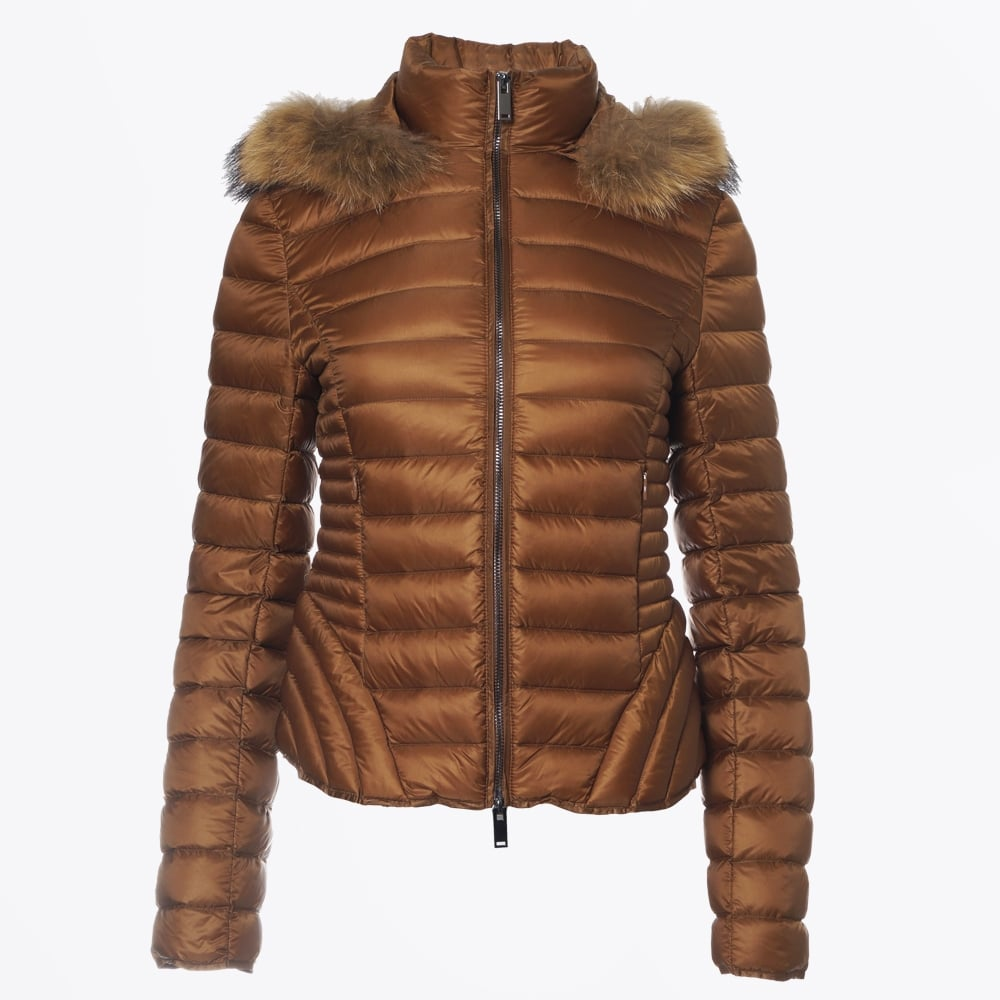 Short Fur Trim Puffa Jacket- Mustard | Short Down Coat | Eva Kayan