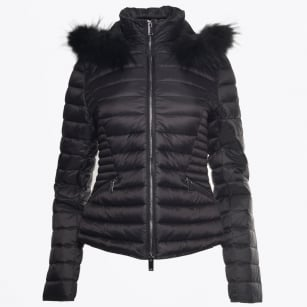 - Short Fur Trimmed Puffa Jacket - Black