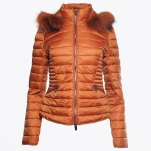 - Short Fur Trimmed Puffa Jacket - Cognac